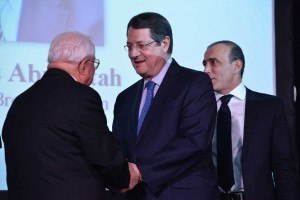 The President of Cyprus Nicos Anastasiades (middle) awarding the founder of Windsor Brokers Nicolas Abuiatah (left), and Johny Abuaitah (right).