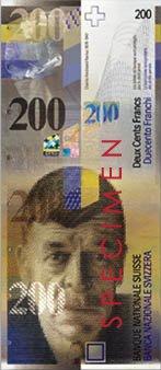 200 Swiss Francs, Specimen