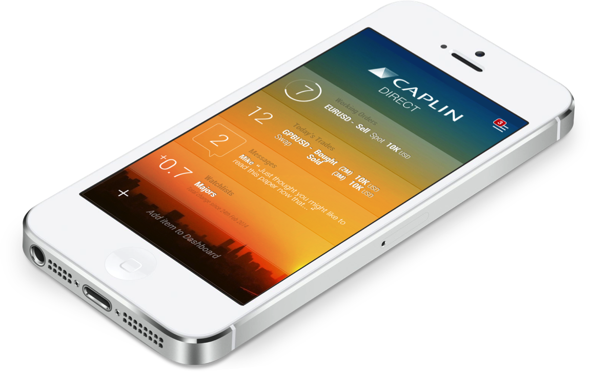 Caplin concept art for FX mobile trading app