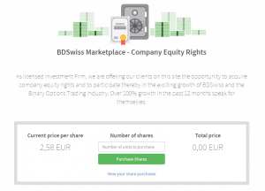 BDswiss equity rights sale