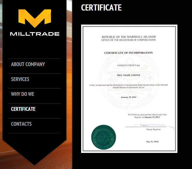 Mill Trade Limited Certificate on Glistentree Holdings Limited Website