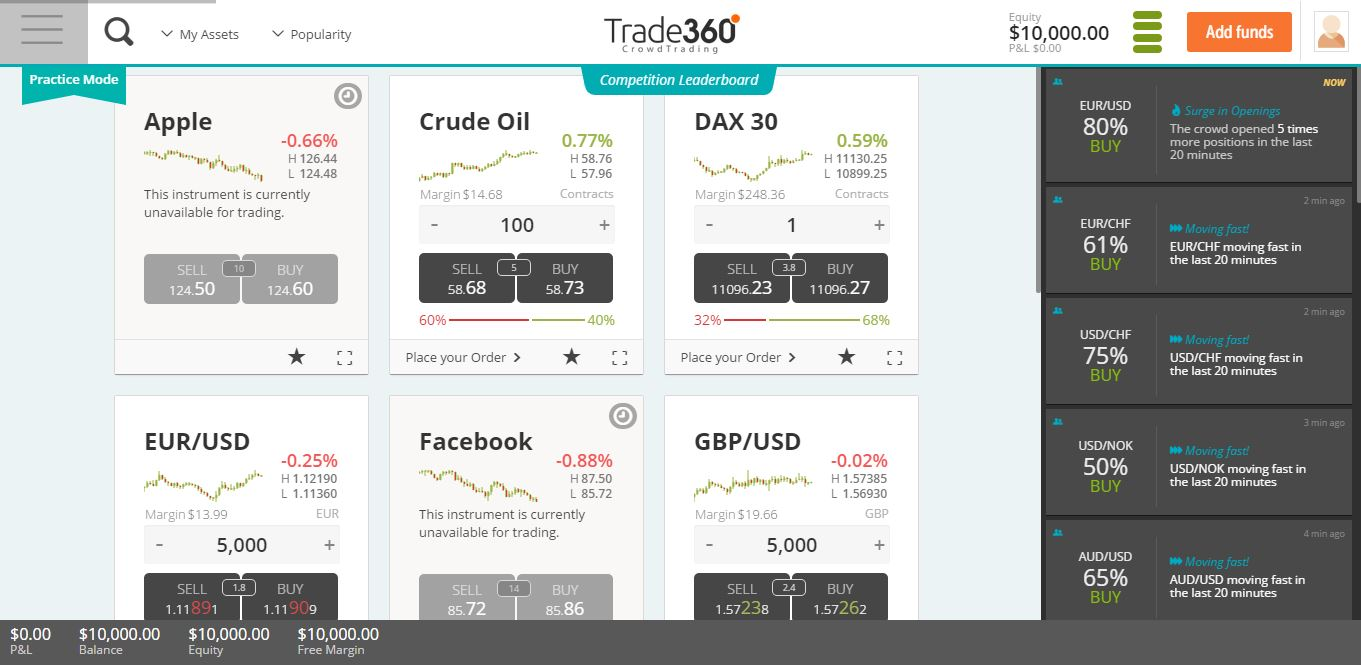 Trade360 Platform Screenshot