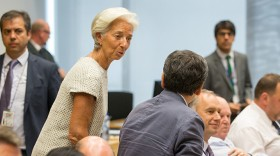 Christine Lagarde, IMF managing director, speaks with Euclid Tsakalotos, Greece's finance minister, on Saturday, July 11, 2015. (Photo: Bloomberg)
