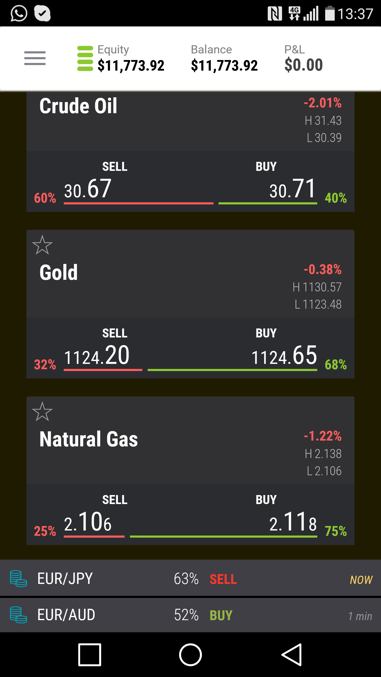 A screenshot of the new mobile app of UFX markets