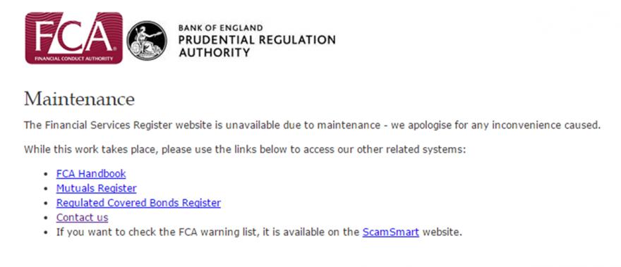 FCA register down