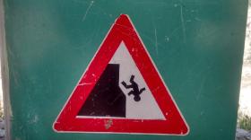 cliff falling man